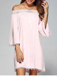 Openwork Lace Off Shoulder Club Short Dress with Sleeves - PINK