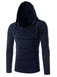 Long Sleeve Plain Drawstring Hooded T-Shirt - CADETBLUE