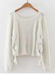 Late Fall Circle Hoop Lace-Up Sweater -