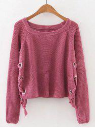 Late Fall Circle Hoop Lace-Up Sweater - WATERMELON RED