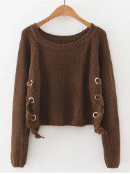 Late Fall Circle Hoop Lace-Up Sweater
