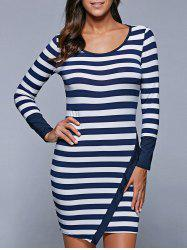 Long Sleeve Stripe Irregular Mini Bodycon T-Shirt Dress - BLUE