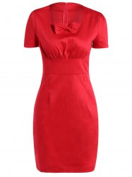 Vintage Square Neck Bowknot Draped Pin Up Dress - RED 2XL
