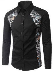 Button Up Printed Paneled Shirt - BLACK XL