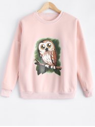 Owl Print Loose-Fitting Sweatshirt -