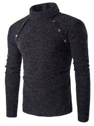 Long Sleeve Button Design Turtleneck Sweater - DEEP GRAY