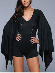 V Neck Button Design Cape Romper