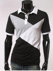 Color Splicing Short Sleeve Polo T-Shirt - BLACK L