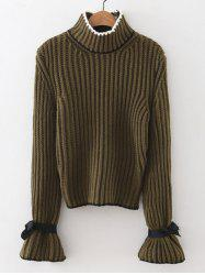 Mock Neck Flare Sleeve Knitted Sweater