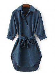 Turn-Down Collar Belted High-Low Hem Shirt Dress