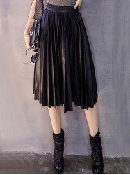 Pleated High Waist Side Zip PU Skirt