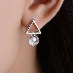 Fake Pearl Shell Triangle Earrings