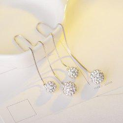 Longline Rhinestone Double Ball Earrings