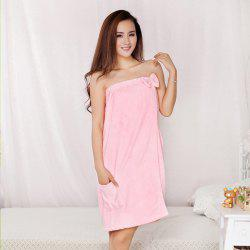 Fiber Bowknot Tube Top Bath Skirt Towel - PINK