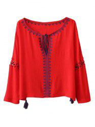 Ethnic Bohemia Embroidery Tassel Lace-Up Blouse -