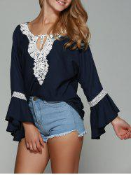 Lace Trim Chiffon Flare Sleeve Blouse - PURPLISH BLUE XL