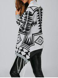 Geometric Fringe High Low Cardigan - MULTICOLOR
