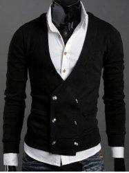 Long Sleeves Double-Breasted Cardigan - BLACK