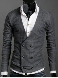 Long Sleeves Double-Breasted Cardigan - DEEP GRAY