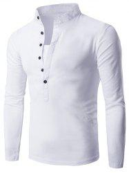 Half Single-Breasted Stand Collar Long Sleeve T-Shirt -