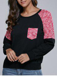 Single Pocket Heathered Raglan Sleeve Sweatshirt -