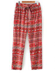 Tribal Print Straight Cut Elastic Pants