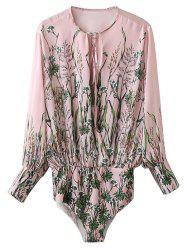 Long Sleeve Floral Bodysuit - PINK L