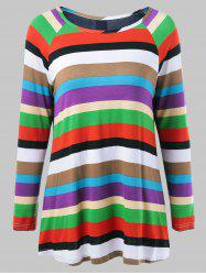 Colorful Striped Back Button T-Shirt -