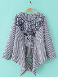 Embroidery Embellished Striped Asymmetrical Blouse