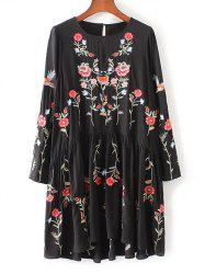 Floral Embroidered Smock Dress - BLACK