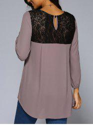 Lace Patchwork High Low Hem Chiffon Blouse -