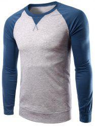 Color Splicing Round Collar Raglan Sleeve T-Shirt - LIGHT GRAY