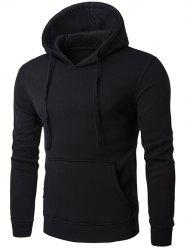 Kangaroo Pocket Drawstring Plain Hoodie - BLACK