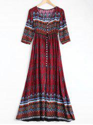 Bohemian Print Long Swing Dress with Sleeves - WINE RED