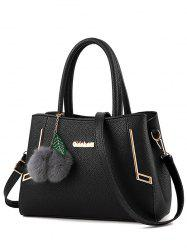 PU Leather Metal Pom Pom Handbag - BLACK