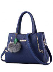 PU Leather Metal Pom Pom Handbag - BLUE