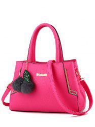 PU Leather Metal Pom Pom Handbag