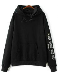 Front Pocket Embroidered Hoodie -