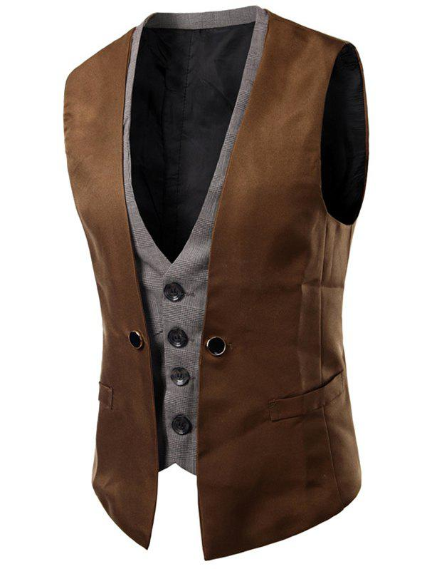 Fancy Plaid Insert Buckled Single Breasted Waistcoat
