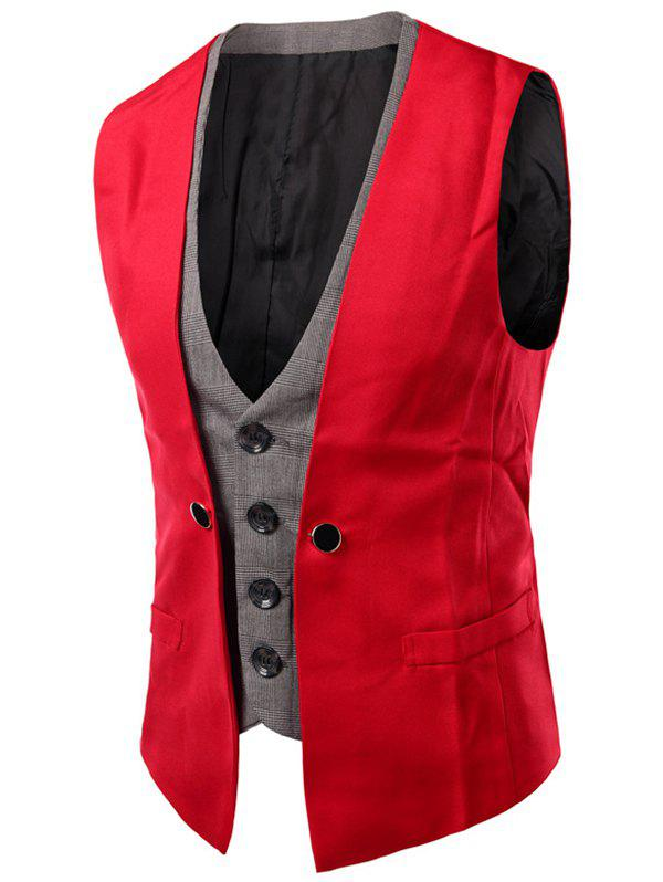 Chic Plaid Insert Buckled Single Breasted Waistcoat