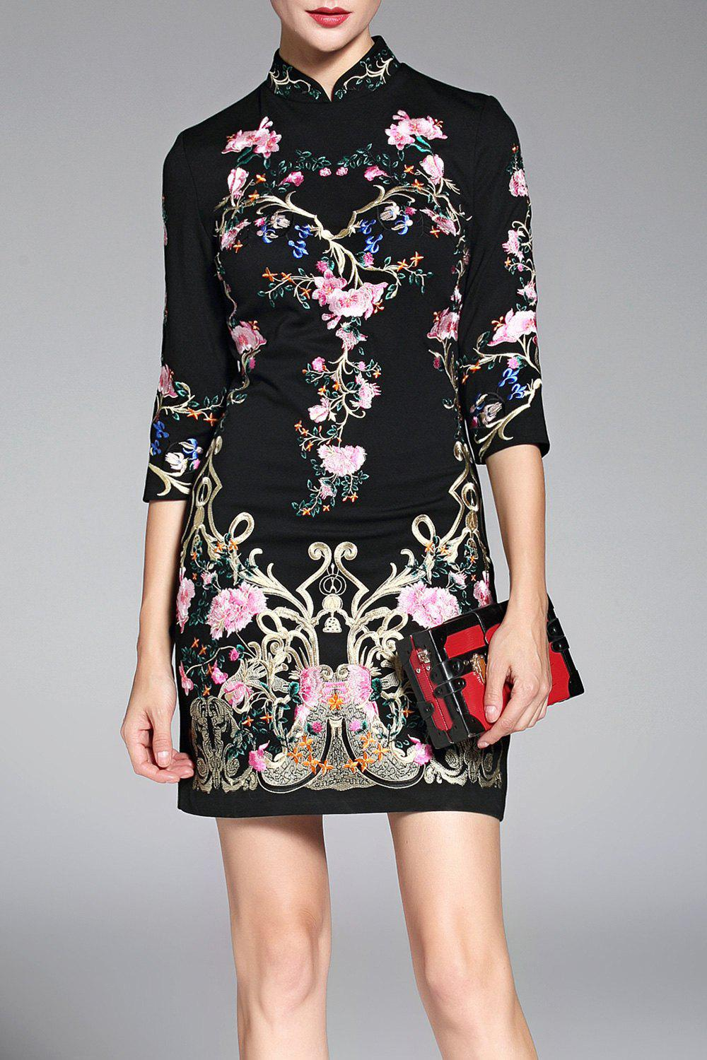 Hot Mini Embroidered Qipao Dress