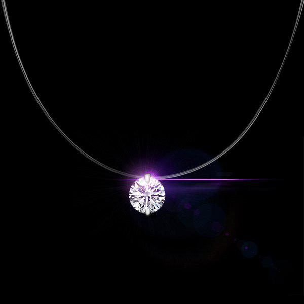 Solitaire Round Rhinestone NecklaceJEWELRY<br><br>Color: SILVER WHITE; Item Type: Pendant Necklace; Gender: For Women; Necklace Type: Link Chain; Material: Rhinestone; Style: Trendy; Shape/Pattern: Ball; Weight: 0.020kg; Package Contents: 1 x Necklace;