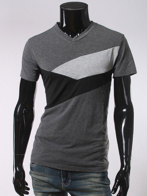 V Neck Short Sleeve Color Block T-ShirtMEN<br><br>Size: L; Color: DEEP GRAY; Style: Casual; Material: Cotton Blends; Sleeve Length: Short; Collar: V-Neck; Pattern Type: Others; Weight: 0.250kg; Package Contents: 1 x T-Shirt;