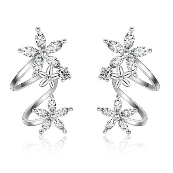 Polished Rhinestone Flowers EarringsJEWELRY<br><br>Color: SILVER WHITE; Earring Type: Stud Earrings; Gender: For Women; Material: Semi-Precious Stone; Metal Type: Alloy; Style: Trendy; Shape/Pattern: Floral; Weight: 0.020kg; Package Contents: 1 x Earrings(Pair);