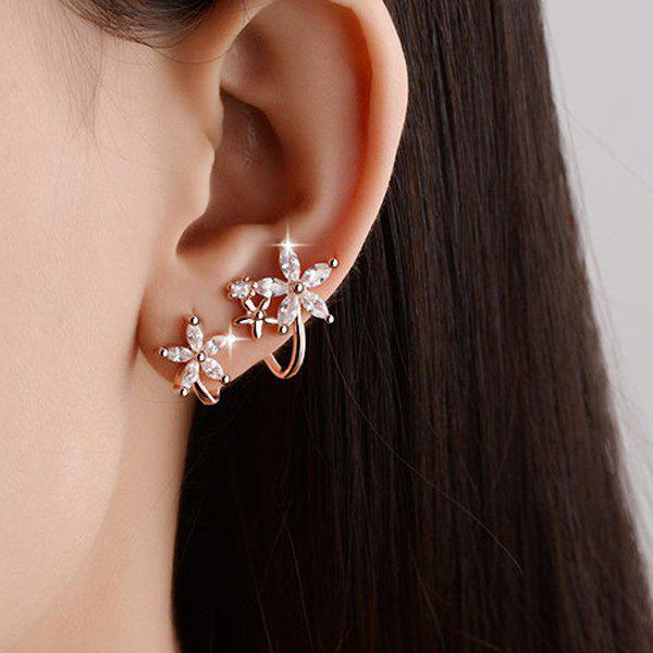 Polished Rhinestone Flowers EarringsJEWELRY<br><br>Color: ROSE GOLD; Earring Type: Stud Earrings; Gender: For Women; Material: Semi-Precious Stone; Metal Type: Alloy; Style: Trendy; Shape/Pattern: Floral; Weight: 0.020kg; Package Contents: 1 x Earrings(Pair);