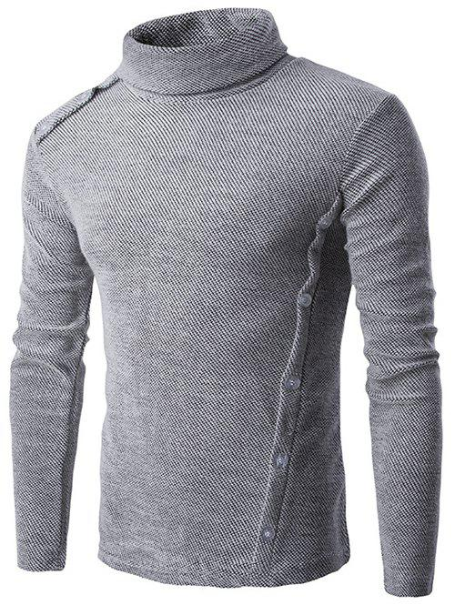 button design long sleeve turtleneck sweater