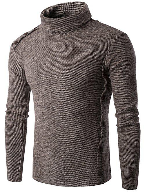 Button Design Long Sleeve Turtleneck SweaterMEN<br><br>Size: L; Color: COFFEE; Type: Pullovers; Material: Cotton Blends; Sleeve Length: Full; Collar: Turtleneck; Technics: Computer Knitted; Style: Fashion; Weight: 0.387kg; Package Contents: 1 x Sweater;