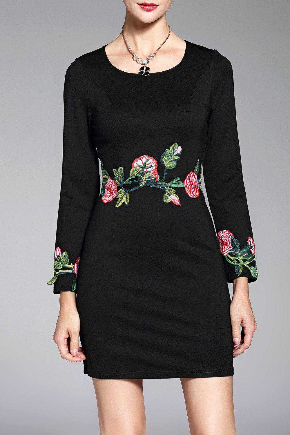 Hot Long Sleeve Embroidered Short Dress
