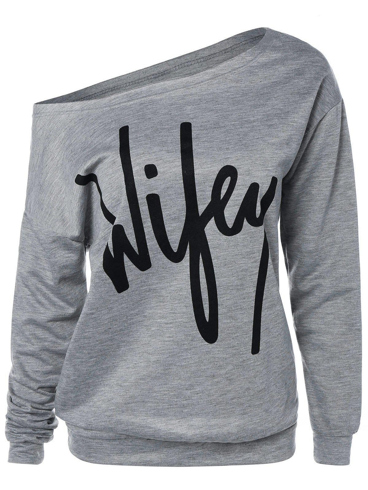 Wifey Print Skew Neck SweatshirtWOMEN<br><br>Size: L; Color: GRAY; Material: Polyester; Shirt Length: Regular; Sleeve Length: Full; Style: Fashion; Pattern Style: Letter; Season: Fall,Spring; Weight: 0.2250kg; Package Contents: 1 x Sweatshirt;