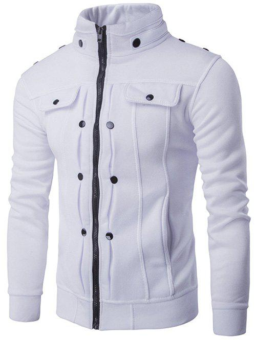 Affordable Stand Collar Buttoned Pleated Zip Up Jacket